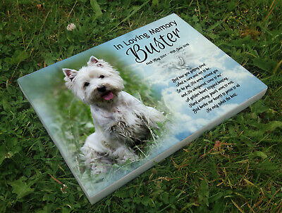 Personalised grave headstone memorial plaque dog west highland terrier