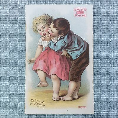 1880's CHROMOLITHOGRAPH TRADE CARD, PEARLINE SOAP, STEALING A KISS