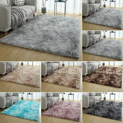 Fluffy Rugs Anti-Skid Shaggy Area Rug Dining Room Carpet Floor Mat Bedroom Home