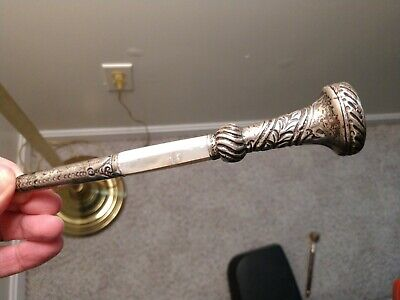 Victorian Silver Mother of Pearl Stamped Cane/Umbrella Handle Late 1800's Wow!!