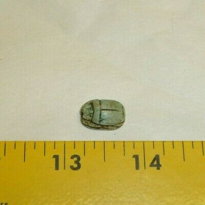 Scarab Carved on one side,Faint turquoise color,Bead