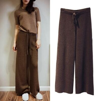 Winter Women's Cashmere Blend Loose Pants Knitted Elastic Waist Casual Trouser