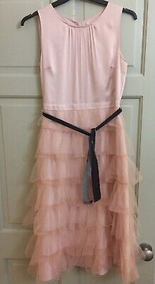 Girls Age 11 Next Pink Party Christmas Dress Ruffled Bow