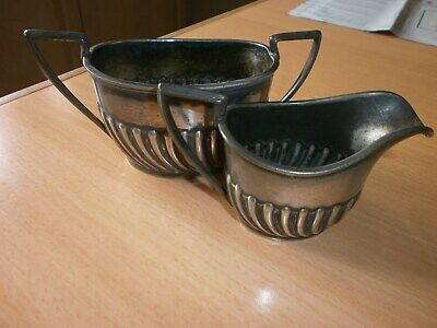 Walker and Hall Vintage Silver Plate Milk Jug and Sugar Bowl.