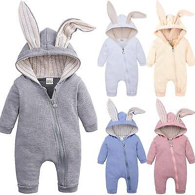 Winter Infant Baby Boy Girl Cotton Rabbit Hooded Jumpsuit Romper Clothes Outfits
