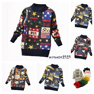 Girls Winter Sweater Boys Kids Jumper Childrens Warm Christmas Knitted Age 2-8 Y