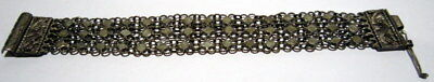 ANTIQUE 1800 s. SILVER KNITTED THREE ROWS LADY BRACELET  #  18B
