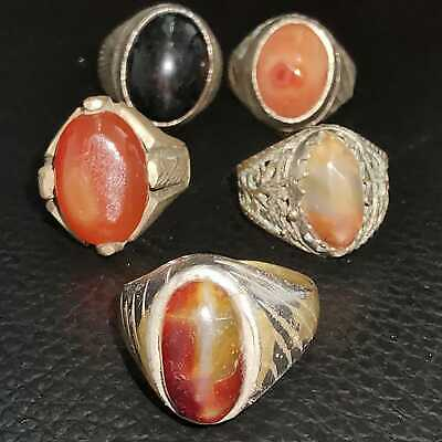 Antique Wonderful Rare Old 5 pcs Rings With Natural Stones   # 27