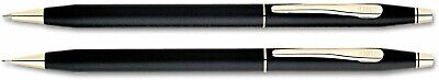 Brand New Cross Century Classic Black and 23kt Gold Pen & Pencil Set $150 Gift