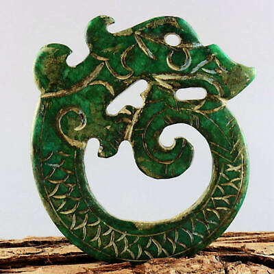 Collectable China Old Green Jade Hand-Carve Myth Dragon Moral Auspicious Pendant