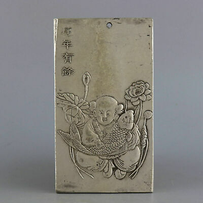 Collect Old Miao Silver Carve Fairchild & Fish & Lotus &Twelve Zodiac Pendant