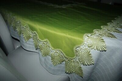 "Pretty tablecloth with beautiful lace throughout ~ shade of green ~ 68"" x 54"""