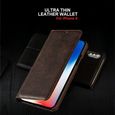 For iPhone 11 PRO XS MAX XR 8 100% Genuine Musubo Leather Wallet Flip Case Cover