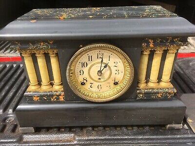 Antique Seth Thomas Adamantine 6 Column Lions Mantle Clock   Condition Is Good