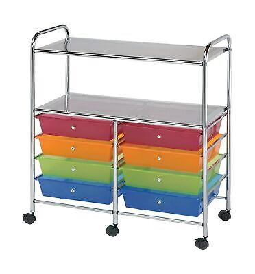 Blue Hills Studio SC8MCDW-12-S Storage Cart 8-Drawer (Wide) with 2-Shelf Mult...
