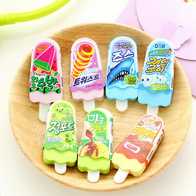 Cute Ice Cream Popsicle Eraser Rubber Pencil Stationery Child Toy 1pc FE