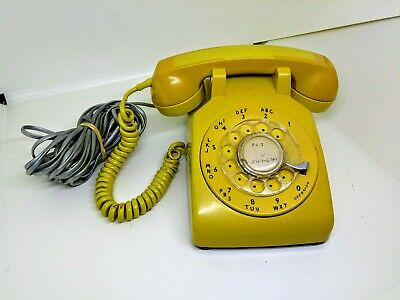 60's Vintage Western Electric Bell Systems Yellow Rotary Telephone - Untested