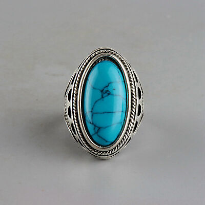 Collect China Old Miao Silver Inlay Turquoise Hand-Carved Flower Delicate Ring