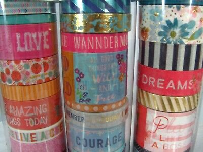 NEW WASHI TAPE LOT Crafting ROLLS - RECOLLECTIONS & CRATE 365 - Foil Glitter