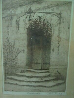Original Signed J C Goodhart Lithograph Etching Old Tasmanian Door Way 1933