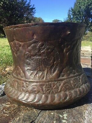 Antique ISLAMIC PERSIAN HAND HAMMERED COPPER WATER BUCKET, DEER DESIGN, NICE!!!!