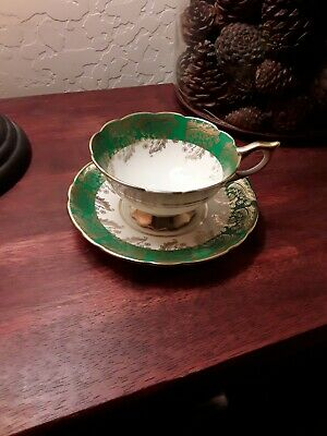 Royal Stafford green/gold tea cup and saucer Gold trim in great shape