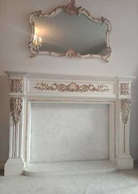 Antique French Louis XV Style Gilded Mirror and Fireplace frame