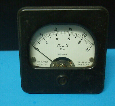 Weston Instruments Radio VOLTS D.C. Model 301 0-10 0-25