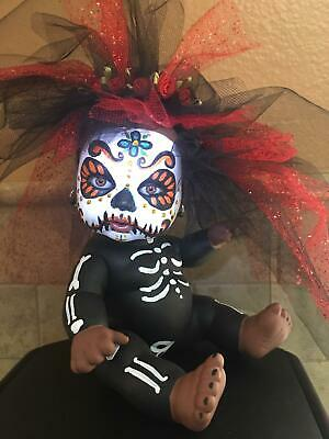 Day of the Dead Baby Doll Sugar Skull Mexican Folk Art Dia De los Muertos.