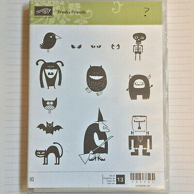 "USED Stampin Up Set of 13 /""Freaky Friends/"" Halloween CM"