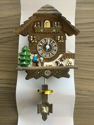 Miniature Pendulum Clock, Austrian Chalet Style Decoration, Xmas Gift Idea