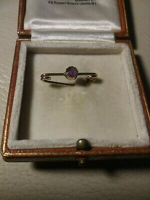 Antique Victorian ~ Edwardian 9ct Gold Pin~Brooch With Amethyst