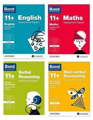 Bond 11 Plus Assessment Papers 8-9 years, 4 Books Bundle; Maths, English, Verbal