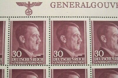 Ww2 Genuine 50 Nazi Stamps Hitlers Head In A Full Sheet!! Super Rare As A Sheet