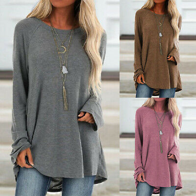 UK Womens Long Sleeve Loose Tunic Tops Ladies Baggy Jumper Pullover Blouse 10-18