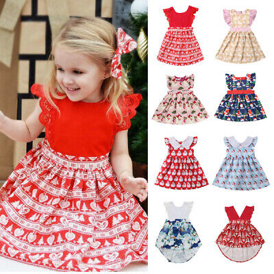 AU Christmas Elk Toddler Kid Baby Girl Clothes  Xmas Santa Claus Princess Dress
