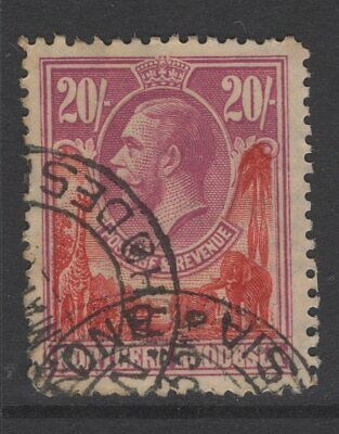 Northern Rhodesia Sg17 1925 20/= Carmine-Red & Rose-Purple Used