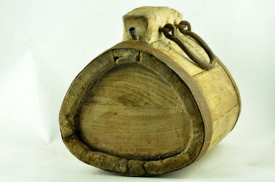 ANTIQUE WOODEN HUGE 9lbs VESSEL KEG WATER CANTEEN WROUGHT IRON BANDED HANDMADE