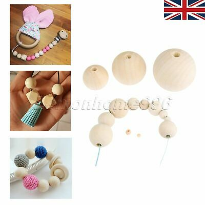 UK STOCK Unpainted Round Wood Ball Bead Spacer Natural Unfinished Craft 4mm-50mm