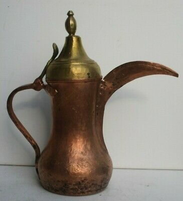 36,3 cm Antique Very Old Dallah Copper islamic Coffee Pot Bedouin 1.683 grams