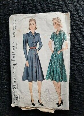 1940s Vintage Sewing Pattern Simplicity 3200 Size 12 Bust 30