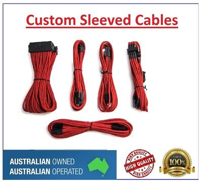 Red Custom Sleeved PC Cables Kit Silverstone PSU