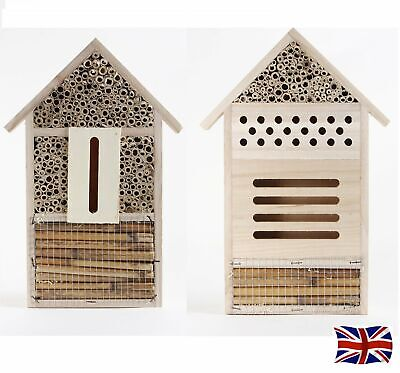 UK Insect Wooden Hotel Nest Home Bee Keeping Bug Ladybird Garden Pollination Box
