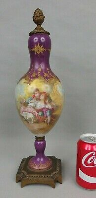 Nice Antique Bronze Mounted Porcelain Urn Vase W Romantic Scene Figures 19th C