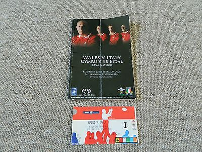 Wales V Italy 2008 Rugby RBS six nations programme & ticket