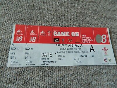Wales v Australia. Rugby Union match ticket  29th November 2008.