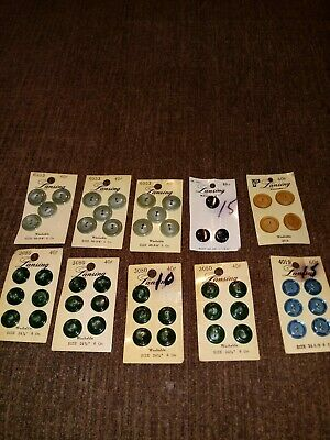 Vintage 10 Lot Of Vintage Lansing Buttons On Cards Emerald Cats Eye Turquoise