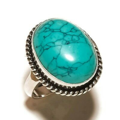 Afghan Green Turquoise Gemstone silver plated Handmade Statement Ring US-8.75