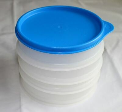 Tupperware Hamburger Keepers Set of 4 NEW Clear with Blue seal