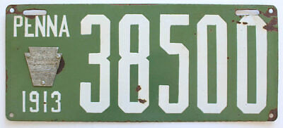 Pennsylvania 1913 Porcelain License Plate, 38500, Antique, Sign